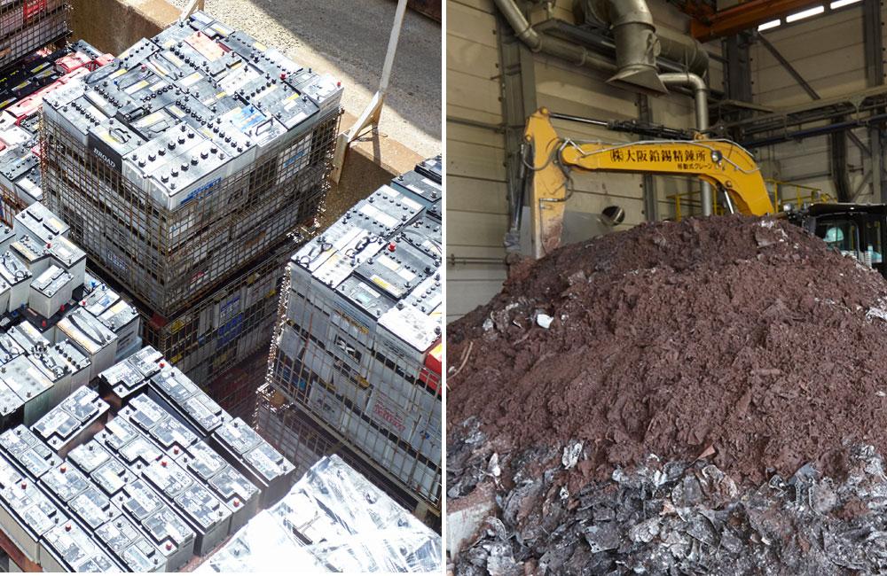 廃バッテリー回収-分離解体作業・鉛原料抽出